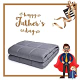 Whats Bigger Than a King Size Bed BUZIO Weighted Blanket 15 lbs for Adults (140-170 lbs), Heavy Blanket with Oeko-TEX Standard Cool Cotton and Premium Glass Beads (48 x 72 Inches, Grey)