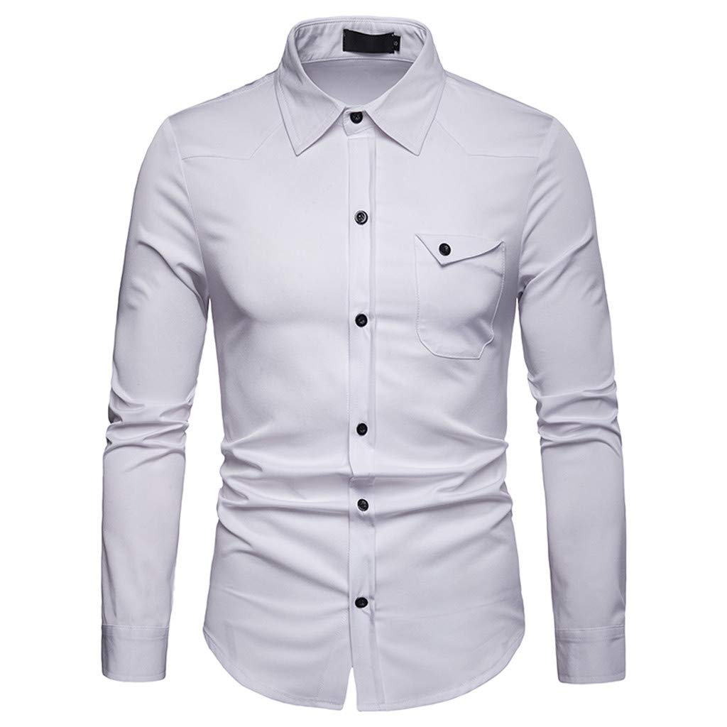 Men Shirts Mens Business Casual Fashion Pure Color Long Sleeved Single Breasted Shirts Top