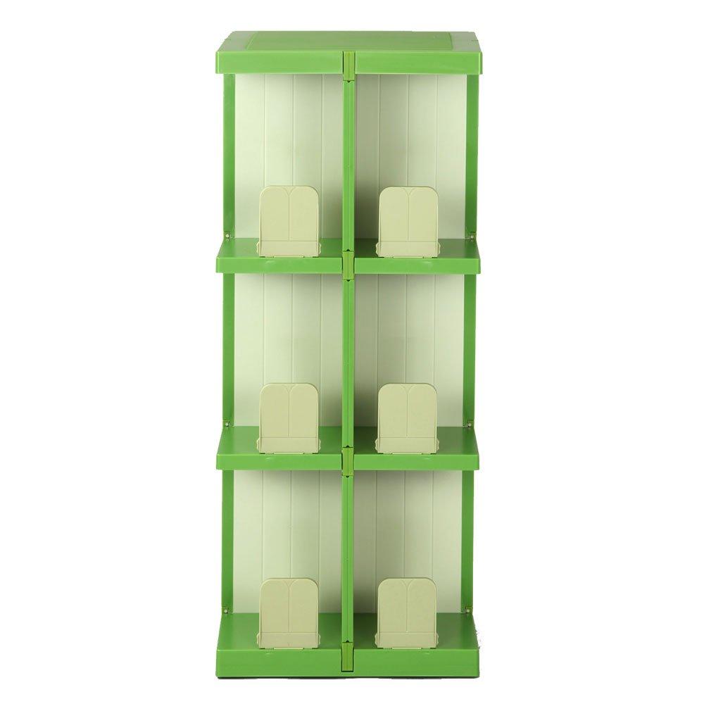 回転式 収納ラック スリム 本棚 コミック収納 マガジンラック ラック タワーラック 〔3段タイプ〕 グリーン B00UYSLZ0W お客様組み立て|グリーン グリーン お客様組み立て