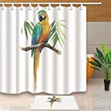 KOTOM Parrots Decor, Watercolor Parrot on Wooden Branches with Bamboo Leaves 69X70in Mildew Resistant Polyester Fabric Shower Curtain Suit With 15.7x23.6in Flannel Non-Slip Floor Doormat Bath Rugs