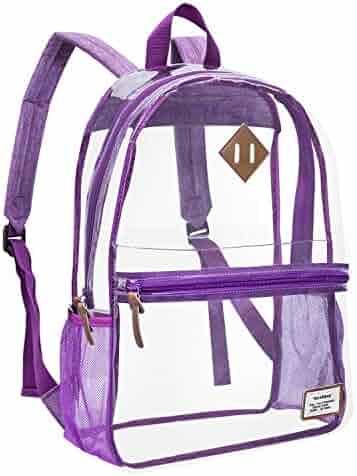 Clear Backpack Transparent School Bag PVC Casual Daypack Travel Lightweight  Bookbag See-Through Rucksack for 073b013d343d1