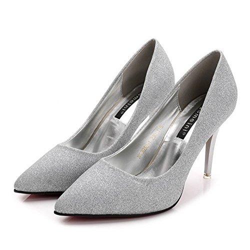 Argent Aalardom tissu Pointu Couleur Légeres Femme Unie Chaussures Matière Souple Paillette Stylet À rHzwvqr