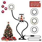 Yimaler Selfie Ring Light with Cell Phone Holder Stand for Live Stream Dimmable [3-Light-Mode] [9-Level Brightness] LED Ring Light Phone Clip with Flexible Long Arm for iPhone/Android Phone