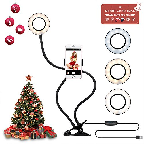 YIMALER Selfie Ring Light with Cell Phone Holder Stand for Live Stream Dimmable [3-Light-Mode] [9-Level Brightness] LED Camera Light Clip with Flexible Long Arm for iPhone/Android Phone