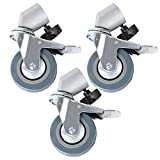 Hakutatz 3Pcs Studio Photography Tripod Easy Swivel Caster Wheel Kit For Light Stand Boom