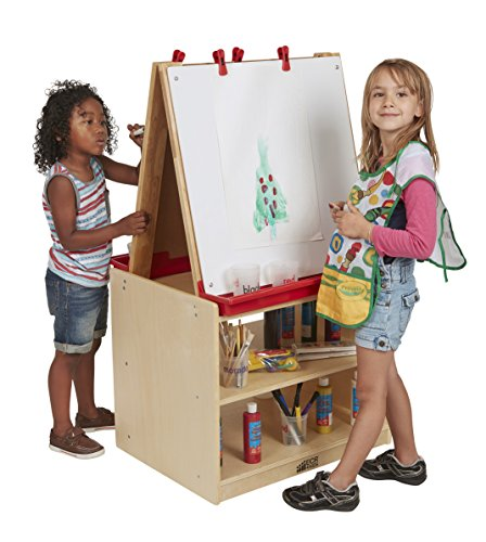 ECR4Kids Double-Sided Birch Hardwood Art Easel Dry-Erase Board with Storage (2-Station) ()