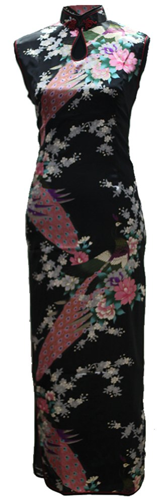 7Fairy Women's Silk Black Keyhole Peacock Long Chinese Dress Qipao Size 4 US