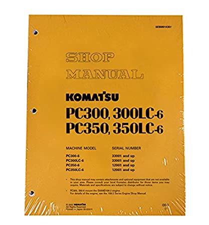 download komatsu pc300 6 pc300lc 6 pc350 6 pc350lc 6 shop manual