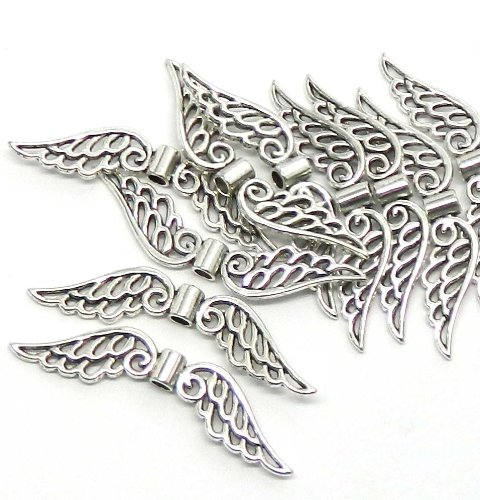 Rockin Beads Brand, 10 Focal Angel Wings Antiqued Silver Beads Cast Zinc Metal Beads 53x10mm Approx 2 Inch