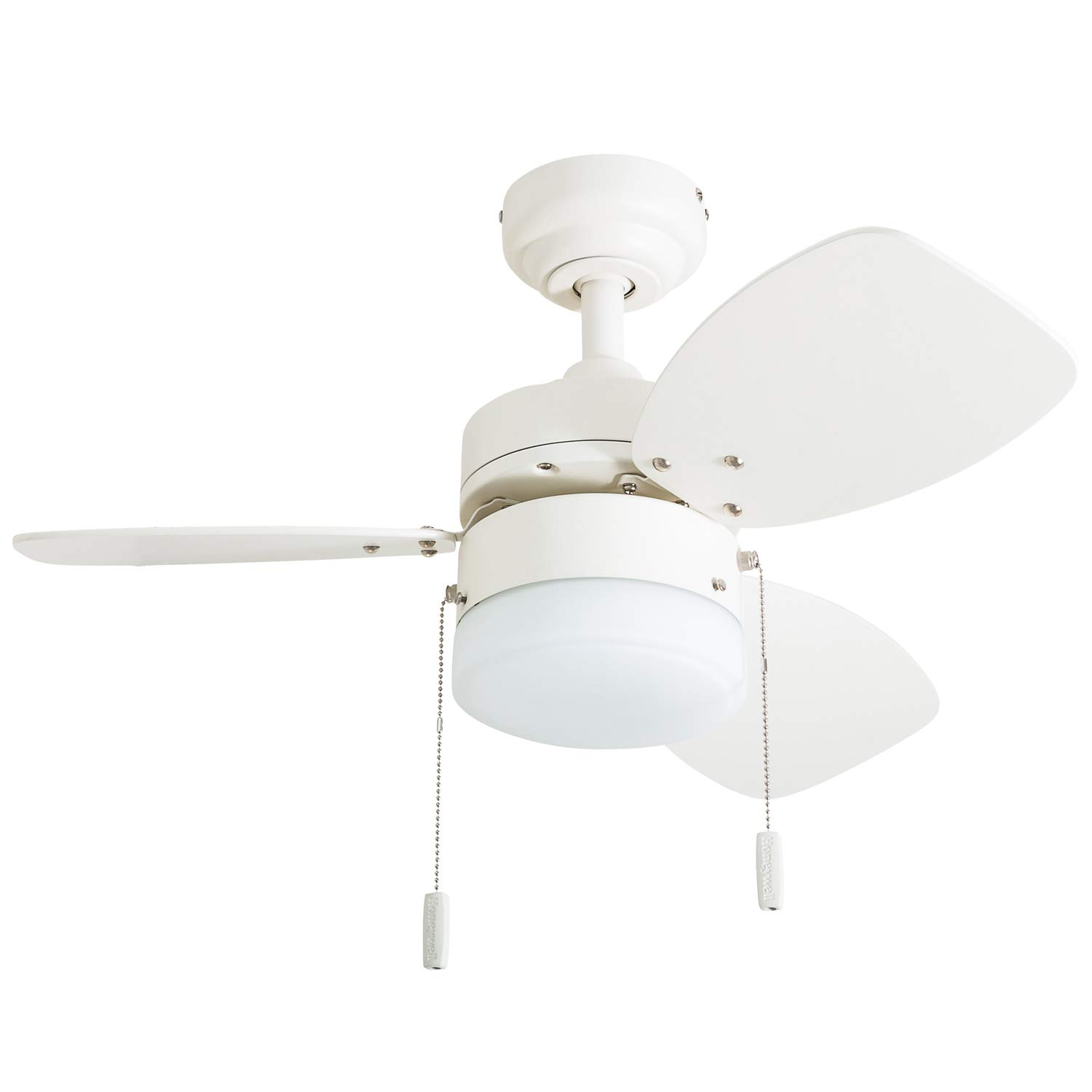 "Honeywell Ceiling Fans 50600-01 Ocean Breeze Contemporary, 30"" LED Frosted Light, Light Oak/Satin Nickel Finish Blades, White"