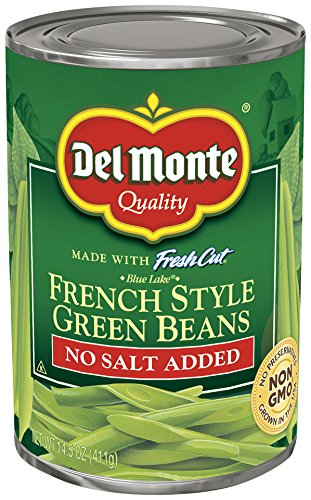 Del Monte Canned French Style No Salt Added Green Beans, 14.5-Ounce (Pack of 12) (Sliced Green Beans)
