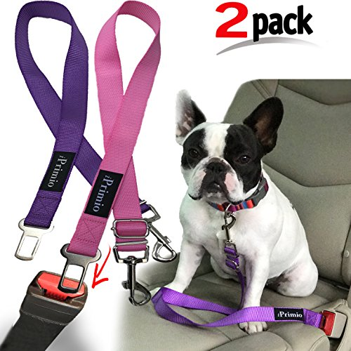 iPrimio 2 Pack Adjustable Pet Dog Safety Harness. Easy Clips Into Current Seat Belt Clip. Secure Cat, Dog. Nylon Harness Safety Belt for You Pet (Pink/Purple 2 Pack) Review