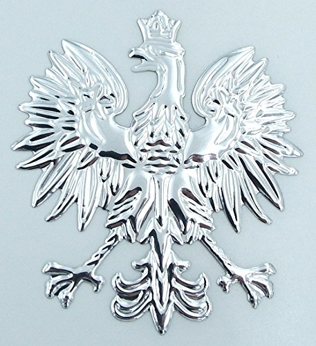 Polish Eagle (Poland, Polish Eagle Chrome silver finish decal emblem 3D sticker car bike 2.5