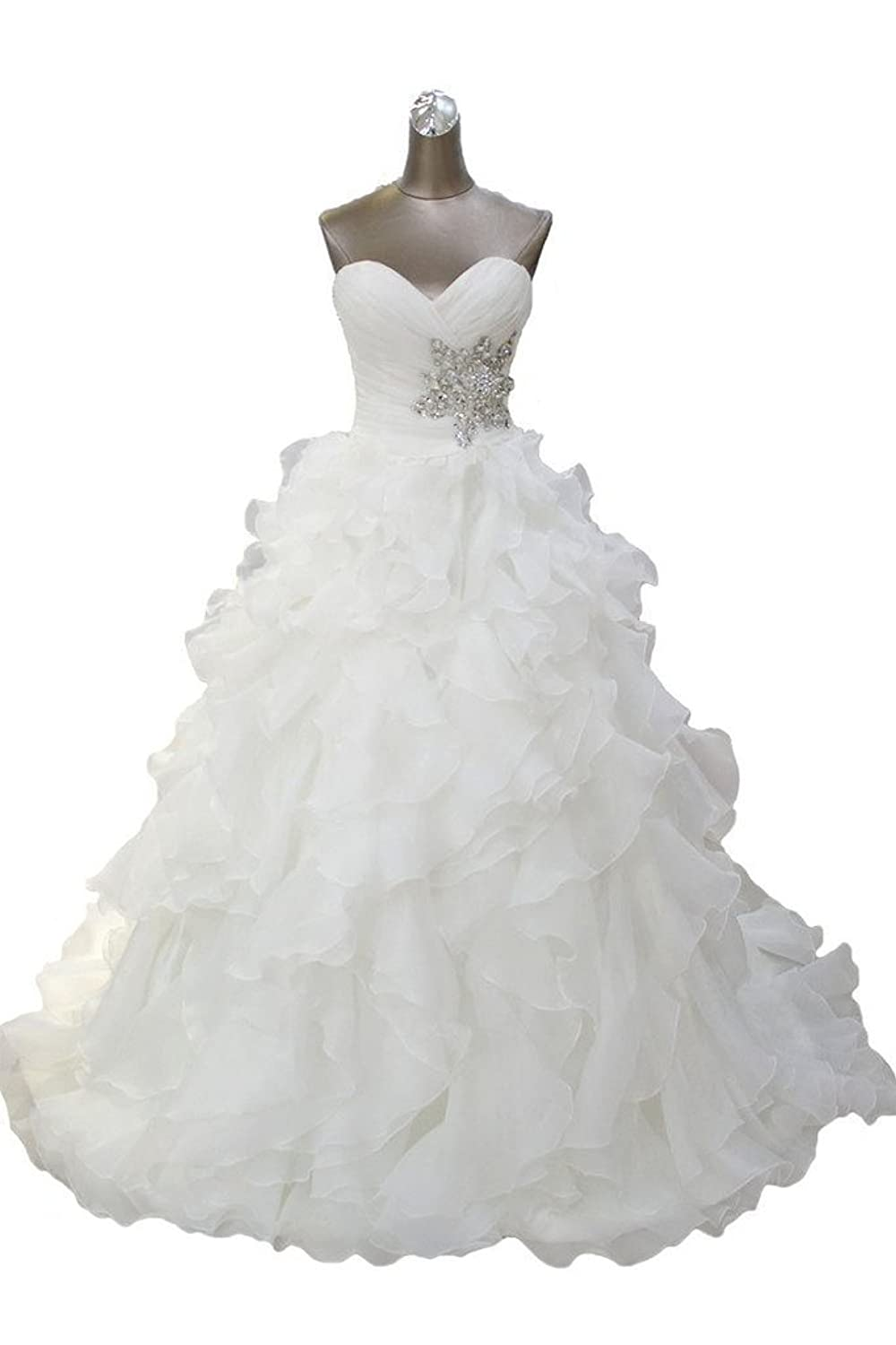 Ebelz Winter Women's Ruffle Laces A-line Wedding Dress Bridal Gown Size 24W