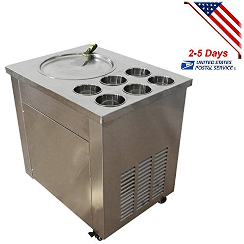 Funwill Shipping from USA Commercial Fried Ice Cream Machine,1 Pan 6 Boxes Ice Crean Roll Making Machine with Three Buttons One Scrapper with Six Buckets Model