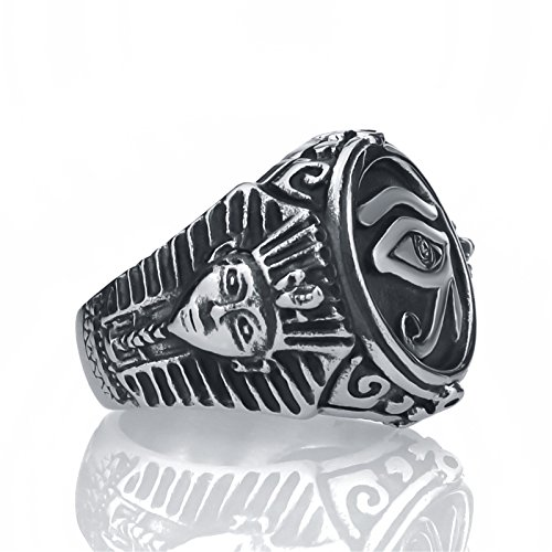 af7c647fd5 Elfasio - Anillo de acero inoxidable para hombre ojo de faraón egipcio Ra  Horus Udjat.
