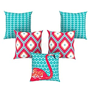 AEROHAVEN™ Set of 5 Abstract Decorative Hand Made Jute Throw/Pillow Cushion Covers – CC-106 – (16 Inch x 16 Inch)