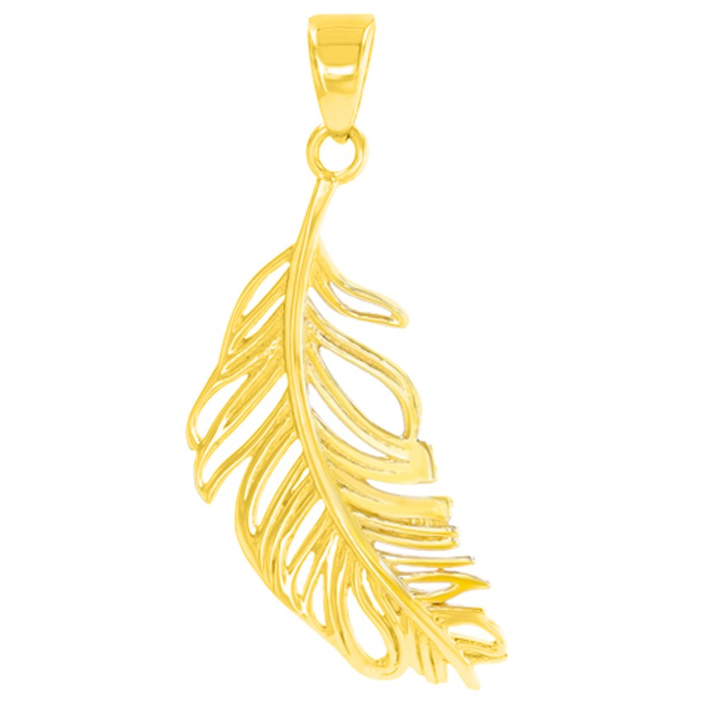 Solid 14K Yellow Gold Textured Feather Charm Pendant Necklace