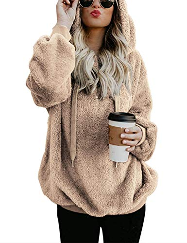 Womens Winter Fuzzy Casual Loose Sweatshirt Hooded Pockets Outwear Coat Khaki XL (Birthday Gifts For 17 Year Old Daughter)