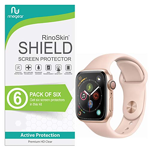 Apple Watch Screen Protector 40mm [6-Pack] (Series 4) [NO Edge Coverage] RinoGear iWatch Protection Flexible HD Crystal Clear Anti-Bubble Unlimited Replacement Film