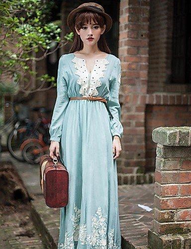 PU&PU Robe Aux femmes Swing Vintage / Décontracté , Fleur Col Arrondi Maxi Mousseline de soie / Dentelle , light blue-s , light blue-s