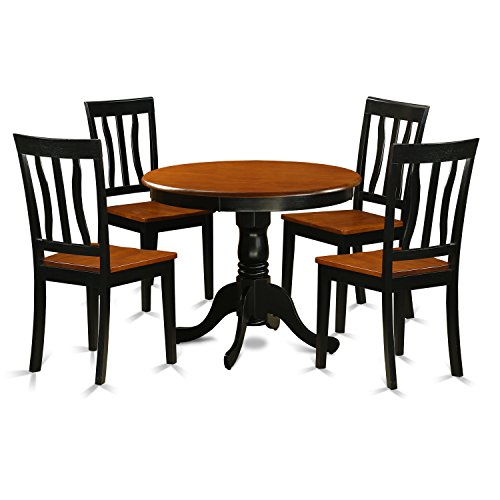 East West Furniture ANTI5-BLK-W 5 Piece with 4 Solid Wood Ch