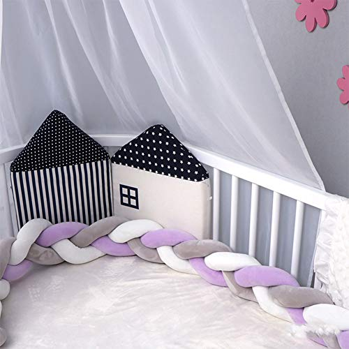 - FZYQY Knot Cushion,Infant Handmade Braided Crib Baby Bumper Knot Pillow, Cot Braid Pad Protector, Bed Bumpers for Baby, Car, Home, Office Cushion Decoration,Purple+Gray,2meters