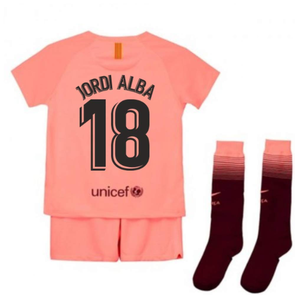 UKSoccershop 2018-2019 Barcelona Third Nike Little Boys Mini Kit (Jordi Alba 18)