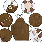Jeanerlor Cotton Canvas Work Apron With 10 Pockets