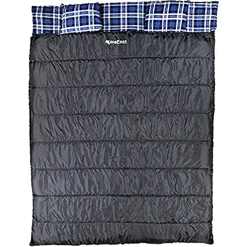 Bigfoot Outdoor Lumberjack Water Resistant Sleeping Bag - Free Stuff Sack (Blue Flannel, Double; 43 Fahrenheit; 6lbs; 300g/m2 Insulation)