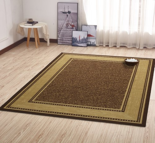 - Ottomanson Contemporary Bordered Design Modern Area Rug, 5' W x 6'6