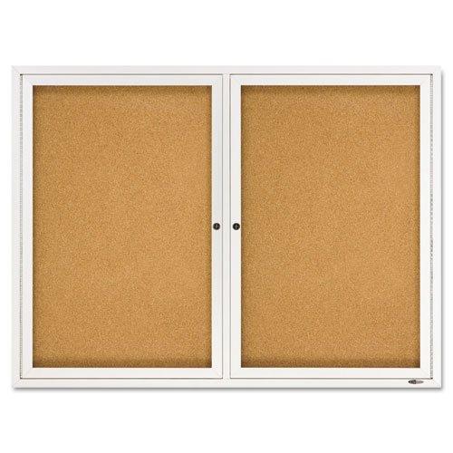 Quartet - Enclosed Bulletin Board, Natural Cork/Fiberboard, 48 x 36, Aluminum Frame 2364 (DMi EA