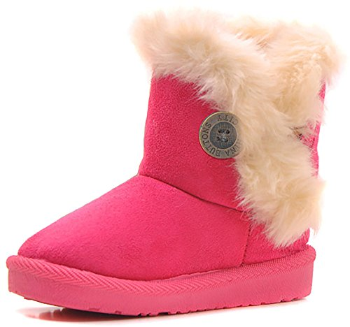 Poppin Kicks Girls Bailey Button Faux Shearling Fur Insulated Snow Boots Kids Winter Flat Shoes Hot Pink 12.5 M US Little (Hot Girls Boots)