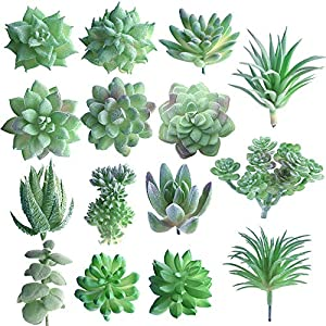 FEPITO 15 Pcs Artificial Succulent Plants Green Unpotted Faux Flower Succulents Mini Echeveria Picks Bulk Stems for Home Indoor Fairy Garden Decorations 75