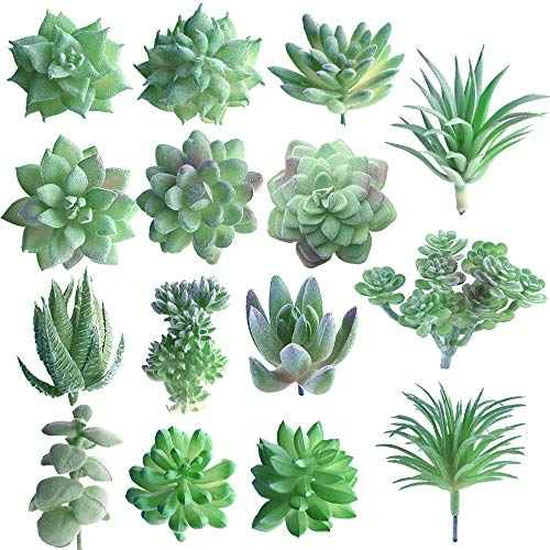 FEPITO 15 Pcs Artificial Succulent Plants Green Unpotted Faux Flower Succulents Mini Echeveria Picks Bulk Stems for Home Indoor Fairy Garden Decorations