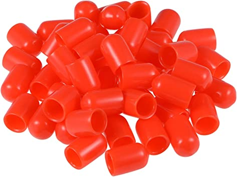 uxcell 80pcs Rubber End Caps 3.5mm ID Vinyl Round End Cap Cover Screw Thread Protectors Black