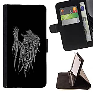 BETTY - FOR Samsung Galaxy S4 Mini i9190 - cool abstract lion art - Style PU Leather Case Wallet Flip Stand Flap Closure Cover