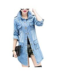 Women's Button Down Long Denim Jacket Coat
