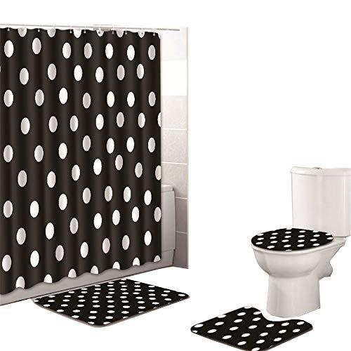 Oyeahbridal Set of 4 Art Design Theme Shower Curtain and Bath Mat Set,Black White Polka Dot Decor Waterproof Non-slip Bathroom Curtain and Rug Set with Hooks(Multi 22) (Polka Dot Bathroom)