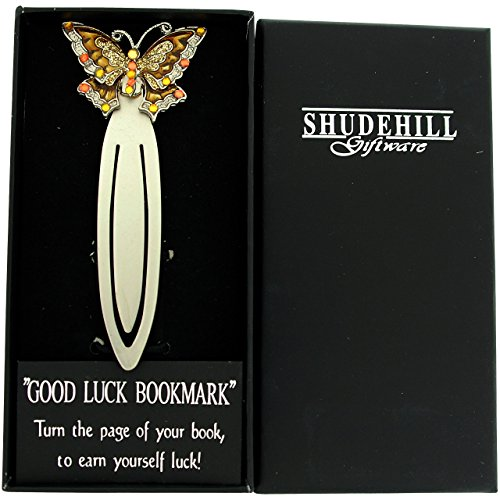 SHJ Jewel Pewter Brown & Goldtone Coated Butterfly Bookmark - SC1221