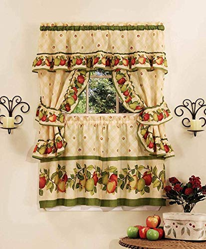 Ben & Jonah PrimeHome Collection Apple Orchard Cottage Window Curtain Set-57x36 Tier Pair/57x36 Ruffled Topper with Attached Valance and tiebacks, Antique