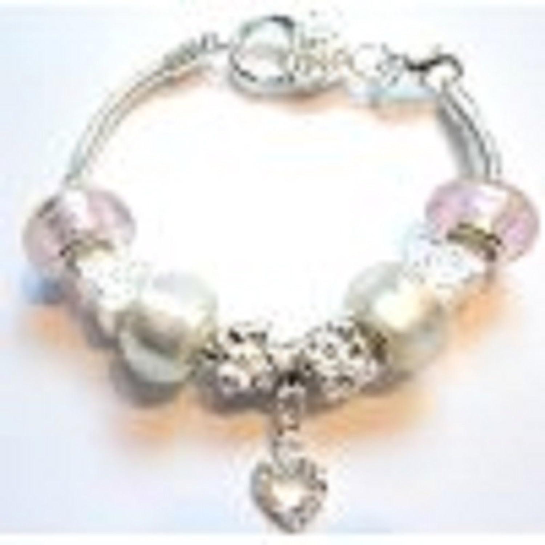 Amazon Sparkly Heart Small Wrist Pandora Style Charm Bracelet
