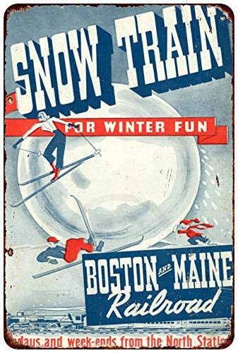 Jesiceny New Tin Sign 1946 Boston and Maine Railroad Snow Train Aluminum Metal Sign 8x12 Inches ()