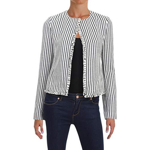 Hugo Boss BOSS Womens Komina Fringe Striped Collarless Blazer B/W 2 Black/White