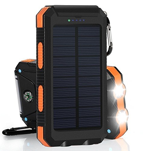 Portable Solar Charger Waterproof Mobile Power Bank 20000mAh External Backup Battery Dual USB 5V 1A/2A Output with LED Flashlight and Compass for Tablet Camera iPhone Samsung (Orange)