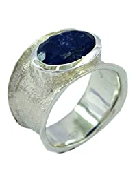 Natural Lapis Lazuli Sterling Silver Ring For Women Oval Shape Bezel Setting Size 5,6,7,8,9,10,11,12