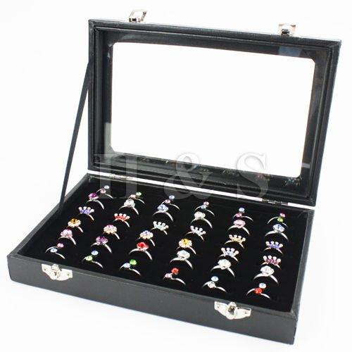 Generic ycuk2_ 150815_ 84< 1& 4508* 1> ND--- bwellery DIS Display Aufbewahrung Top Qualität Glas Box Tablett Fall Deckel 36Ring Schmuck Ständer--- B Top Qualität