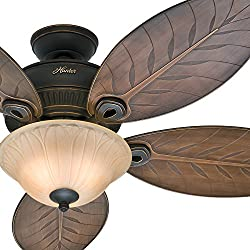 "Hunter Fan 54"" Outdoor Ceiling Fan with Toffee Glass Light Kit, 5 Palm Leaf Blades Included (Certified Refurbished)"