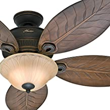"""Hunter Fan 54"""" Outdoor Ceiling Fan with Toffee Glass Light Kit, 5 Palm Leaf Blades Included (Certified Refurbished)"""