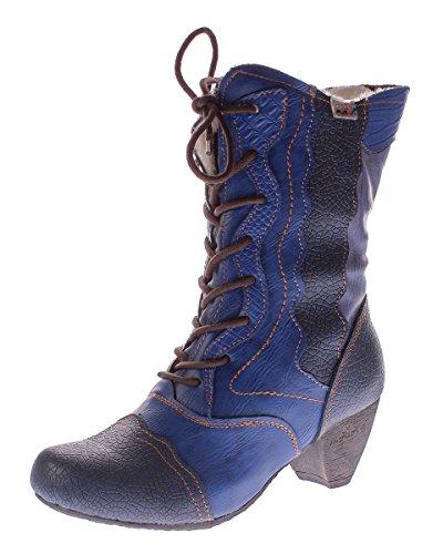 TMA Damen Winter Stiefel Echt Leder Schuhe Gefüttert 8991 Reptil Print Gr. 36-42 Blau-Grau